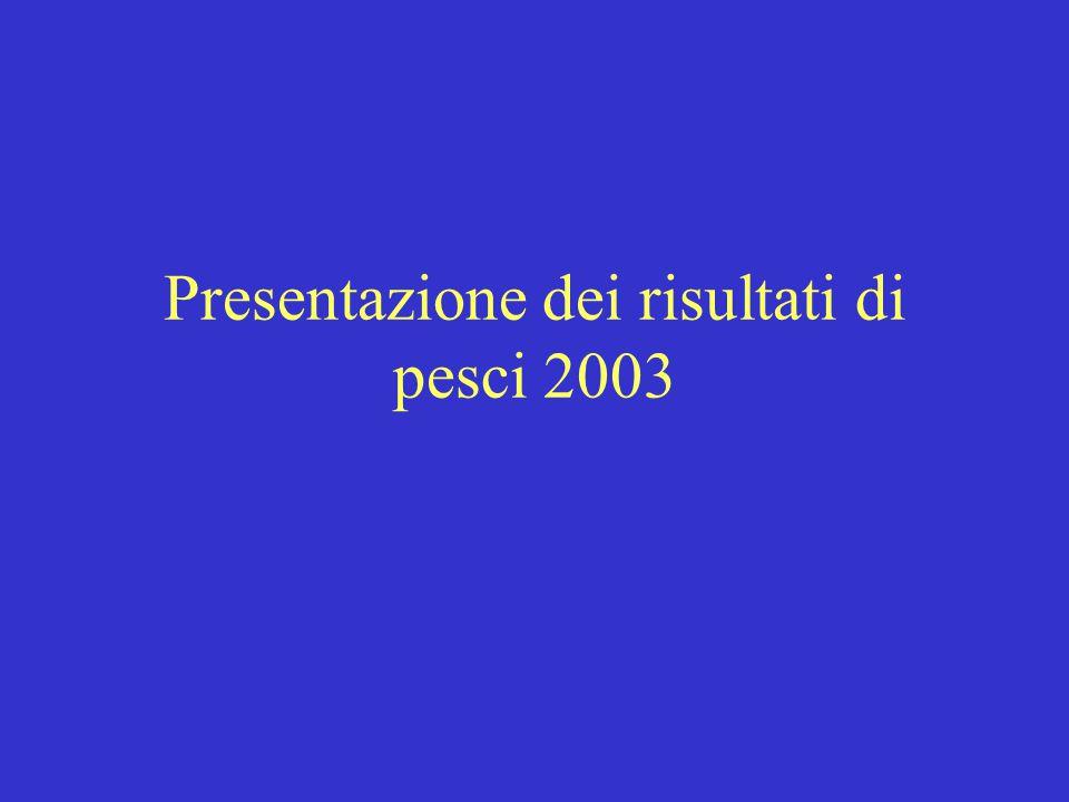 Presentazione dei risultati di pesci 2003