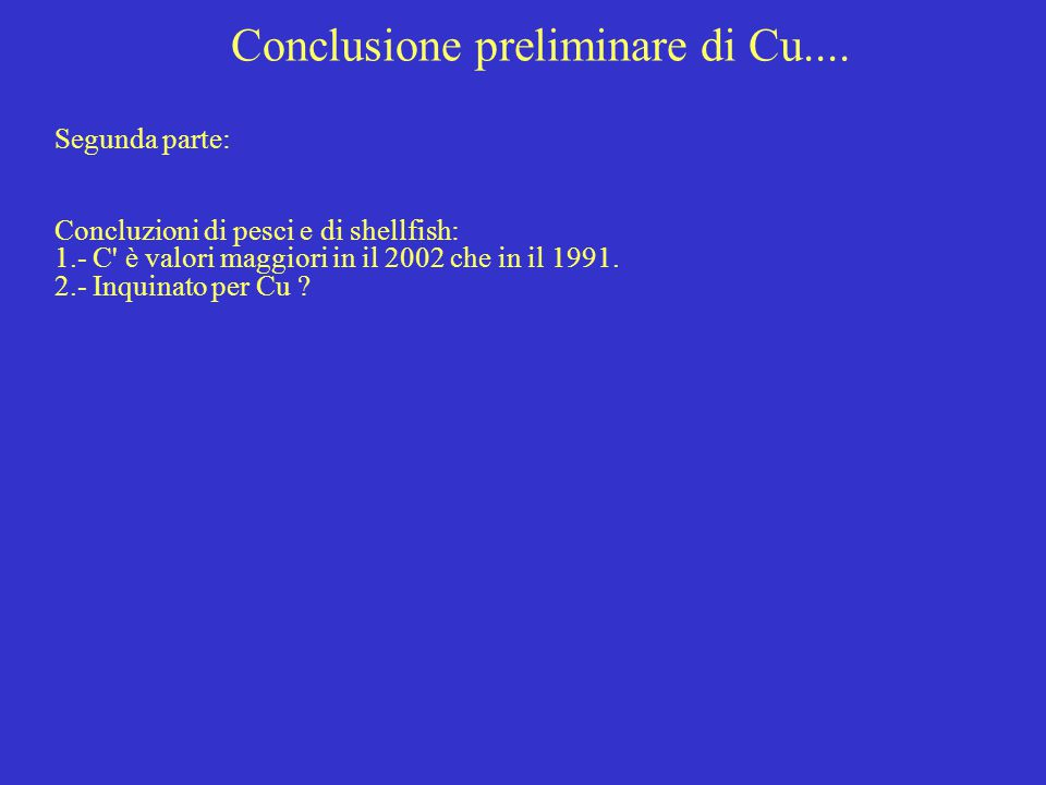 Conclusione preliminare di Cu.... Segunda parte: Concluzioni di pesci e di shellfish: 1.- C' è valori maggiori in il 2002 che in il 1991. 2.- Inquinat