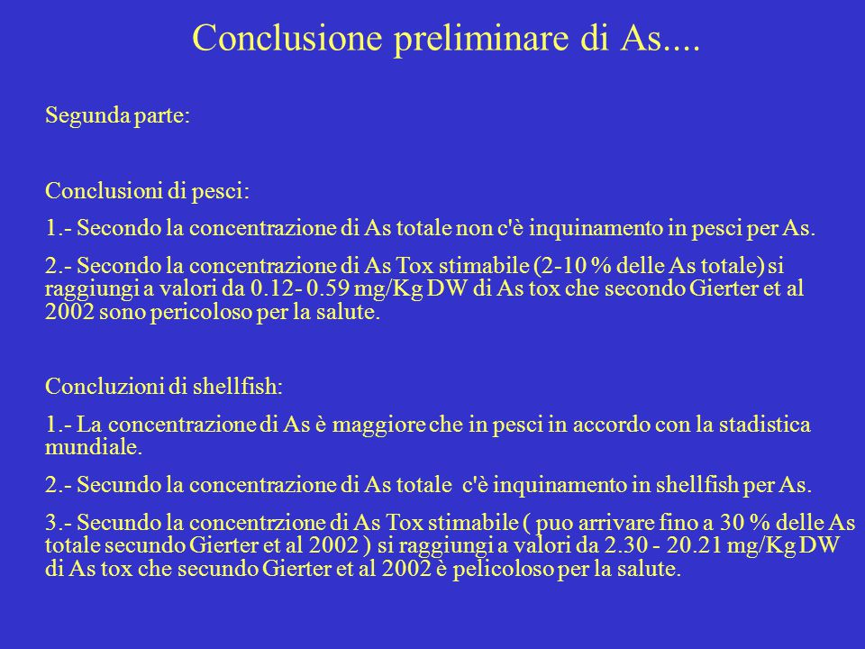 Conclusione preliminare di As....