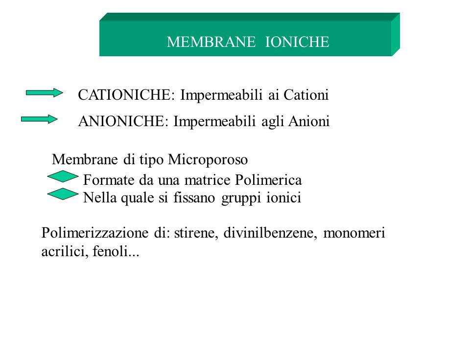 MEMBRANE IONICHE CATIONICHE: Impermeabili ai Cationi ANIONICHE: Impermeabili agli Anioni Membrane di tipo Microporoso Formate da una matrice Polimeric
