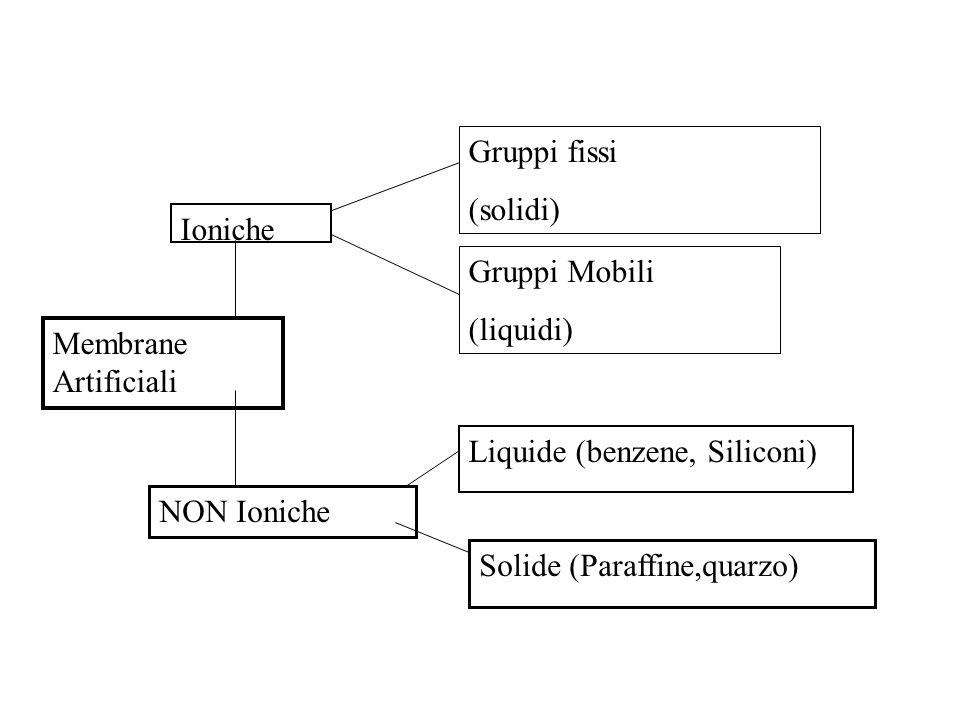 Membrane Artificiali Ioniche NON Ioniche Gruppi fissi (solidi) Gruppi Mobili (liquidi) Liquide (benzene, Siliconi) Solide (Paraffine,quarzo)