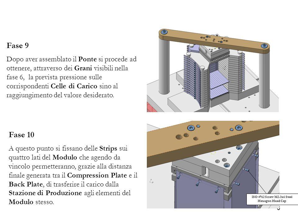 6 Fase 9 Dopo aver assemblato il Ponte si procede ad ottenere, attraverso dei Grani visibili nella fase 6, la prevista pressione sulle corrispondenti Celle di Carico sino al raggiungimento del valore desiderato.