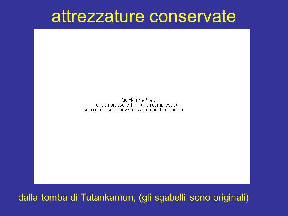 attrezzature conservate dalla tomba di Tutankamun, (gli sgabelli sono originali)