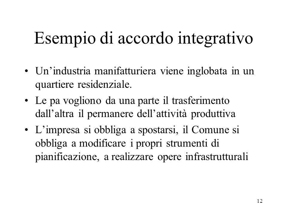 12 Esempio di accordo integrativo Un'industria manifatturiera viene inglobata in un quartiere residenziale. Le pa vogliono da una parte il trasferimen
