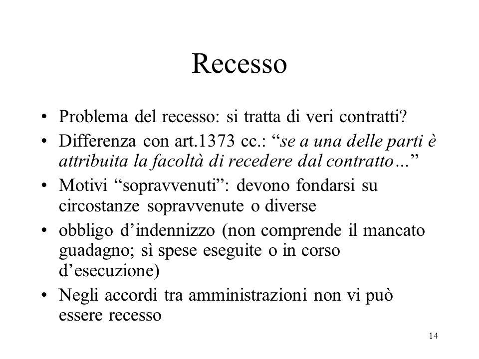 """14 Recesso Problema del recesso: si tratta di veri contratti? Differenza con art.1373 cc.: """"se a una delle parti è attribuita la facoltà di recedere d"""