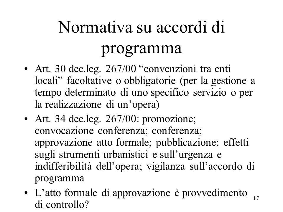 """17 Normativa su accordi di programma Art. 30 dec.leg. 267/00 """"convenzioni tra enti locali"""" facoltative o obbligatorie (per la gestione a tempo determi"""