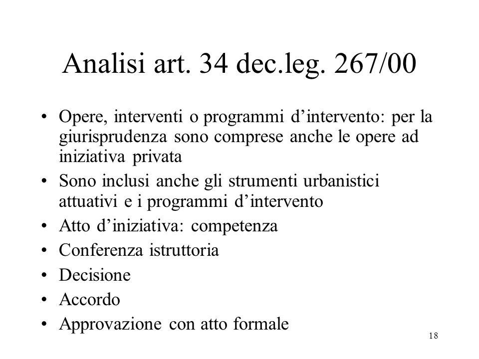18 Analisi art. 34 dec.leg. 267/00 Opere, interventi o programmi d'intervento: per la giurisprudenza sono comprese anche le opere ad iniziativa privat