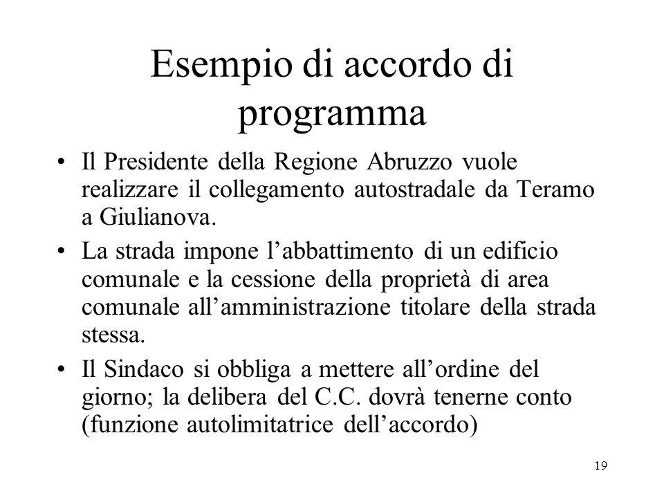 19 Esempio di accordo di programma Il Presidente della Regione Abruzzo vuole realizzare il collegamento autostradale da Teramo a Giulianova. La strada