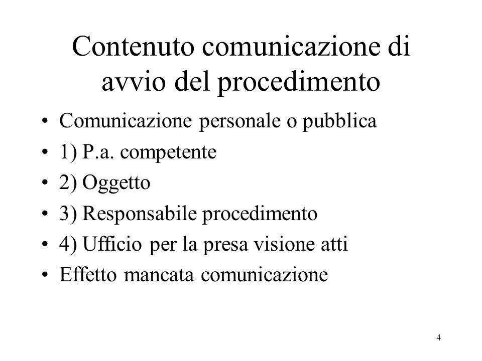 4 Contenuto comunicazione di avvio del procedimento Comunicazione personale o pubblica 1) P.a. competente 2) Oggetto 3) Responsabile procedimento 4) U
