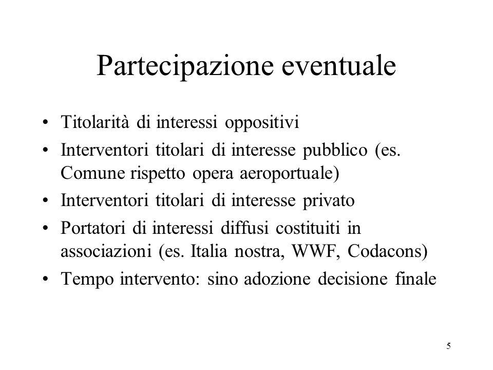 5 Partecipazione eventuale Titolarità di interessi oppositivi Interventori titolari di interesse pubblico (es. Comune rispetto opera aeroportuale) Int