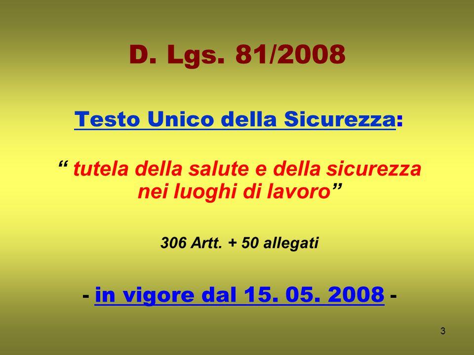 4 STRUTTURA T.U./ 2008 Titolo I – PRINCIPI COMUNI (artt.
