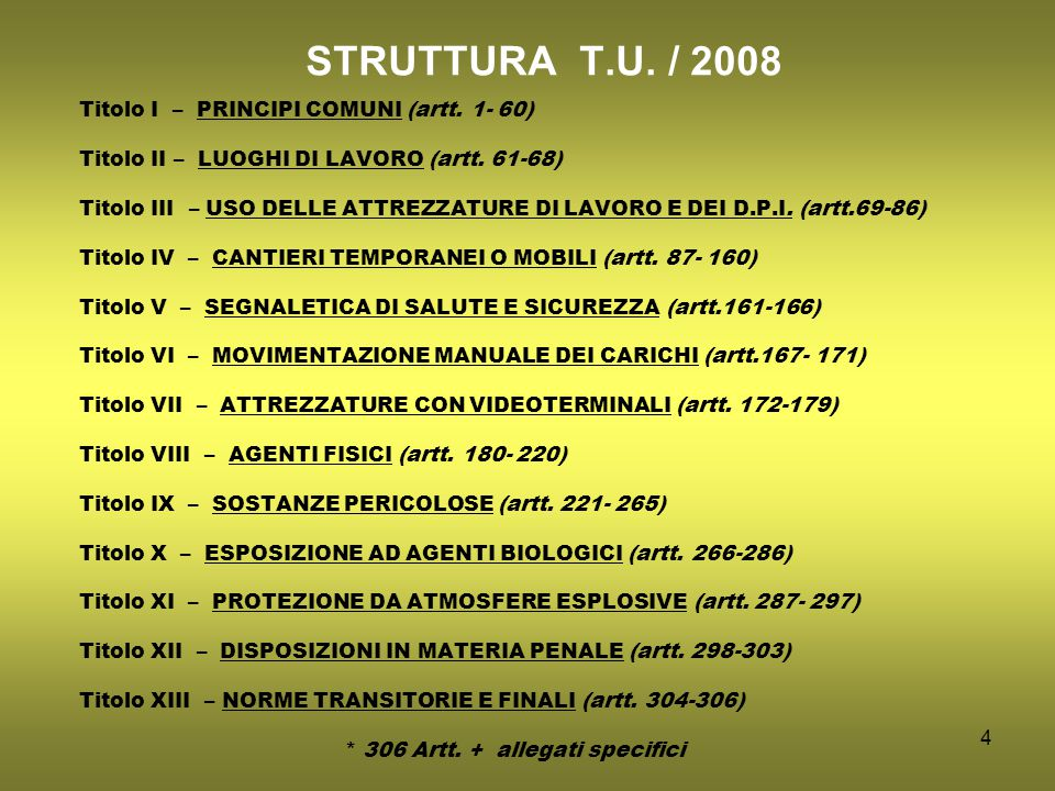 4 STRUTTURA T.U. / 2008 Titolo I – PRINCIPI COMUNI (artt.