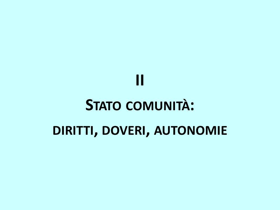 II S TATO COMUNITÀ : DIRITTI, DOVERI, AUTONOMIE