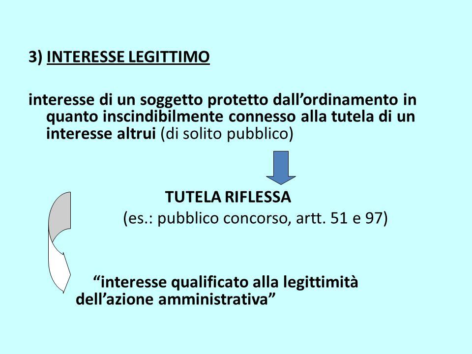3) INTERESSE LEGITTIMO interesse di un soggetto protetto dall'ordinamento in quanto inscindibilmente connesso alla tutela di un interesse altrui (di s