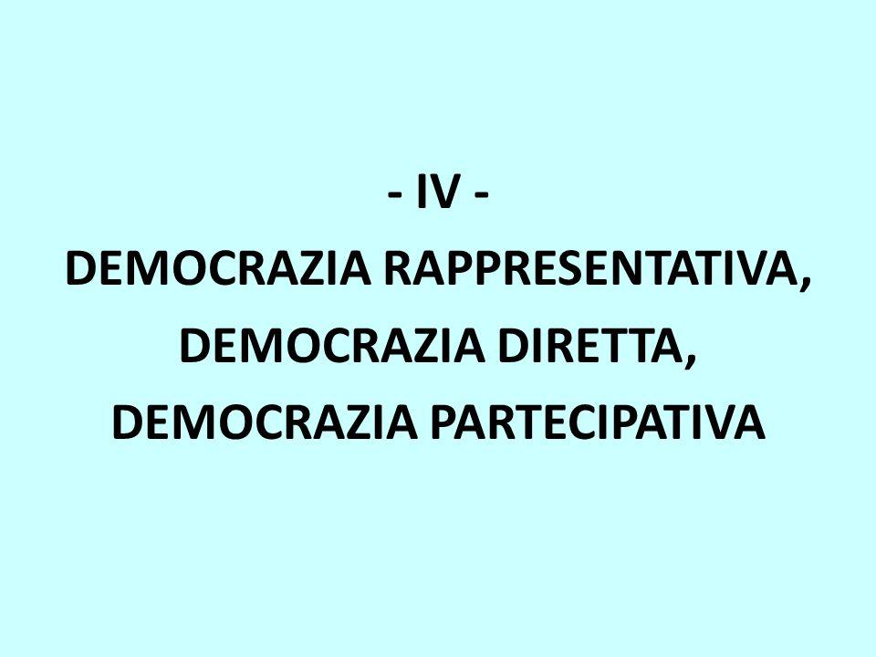 - IV - DEMOCRAZIA RAPPRESENTATIVA, DEMOCRAZIA DIRETTA, DEMOCRAZIA PARTECIPATIVA