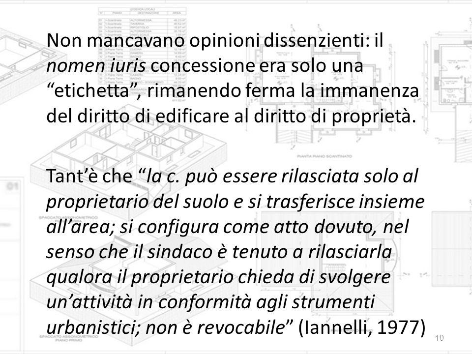 """Non mancavano opinioni dissenzienti: il nomen iuris concessione era solo una """"etichetta"""", rimanendo ferma la immanenza del diritto di edificare al dir"""