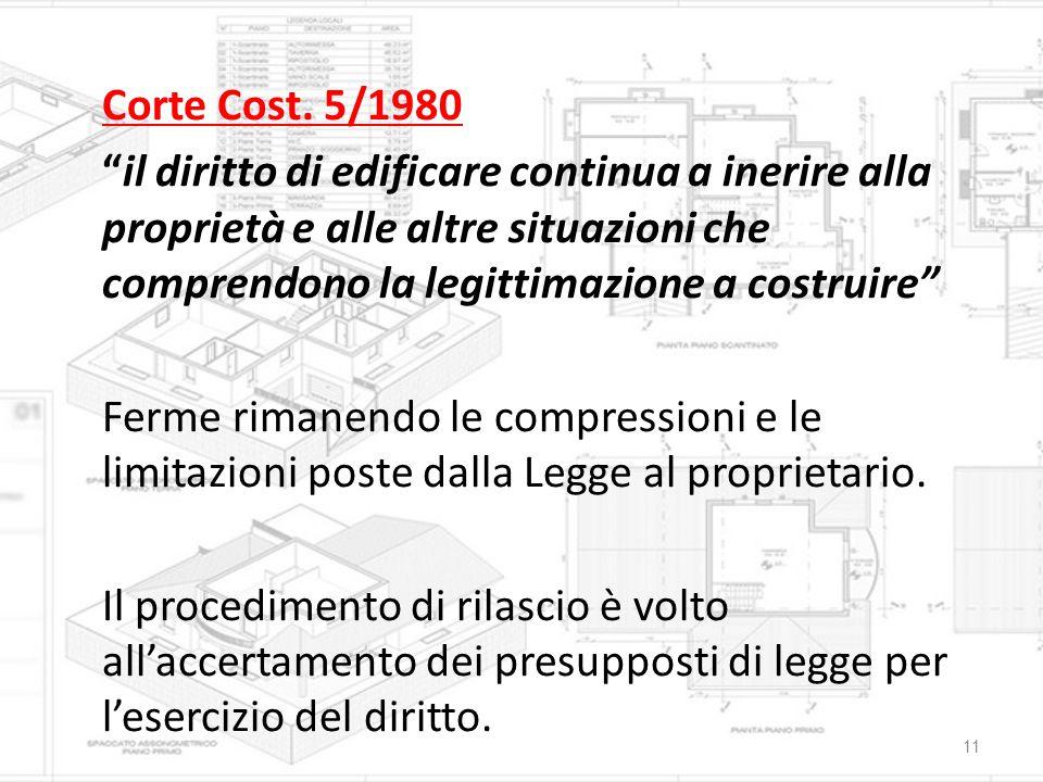 """Corte Cost. 5/1980 """"il diritto di edificare continua a inerire alla proprietà e alle altre situazioni che comprendono la legittimazione a costruire"""" F"""