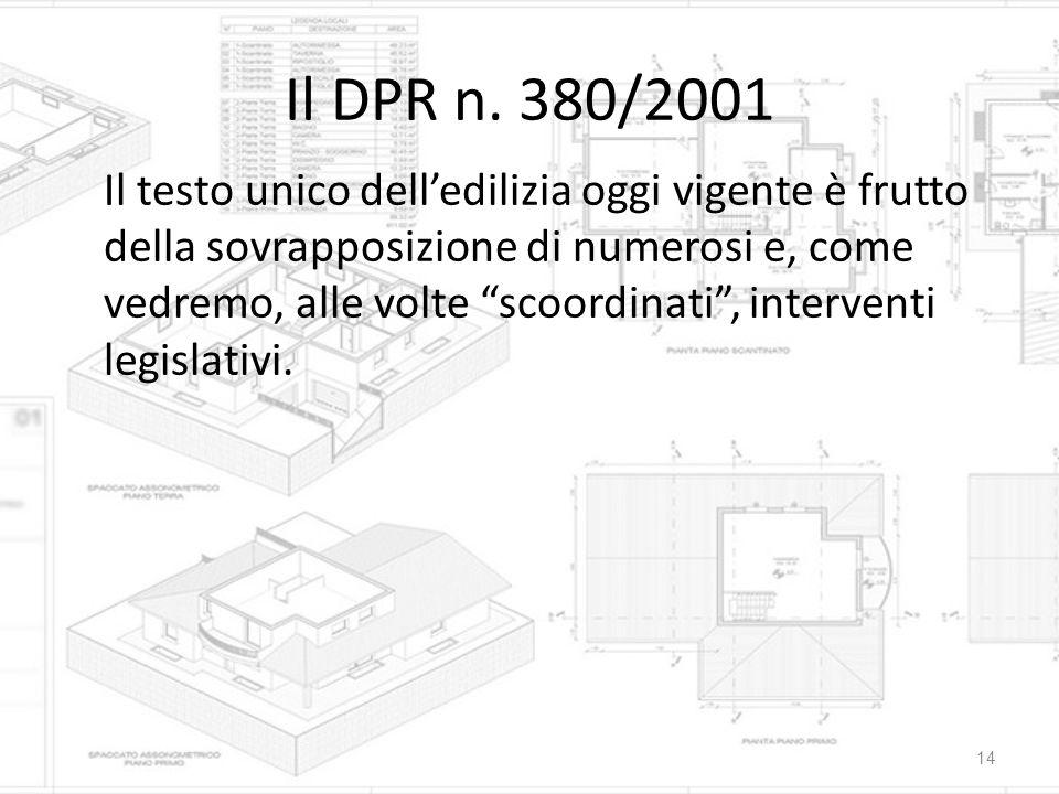 """Il DPR n. 380/2001 Il testo unico dell'edilizia oggi vigente è frutto della sovrapposizione di numerosi e, come vedremo, alle volte """"scoordinati"""", int"""