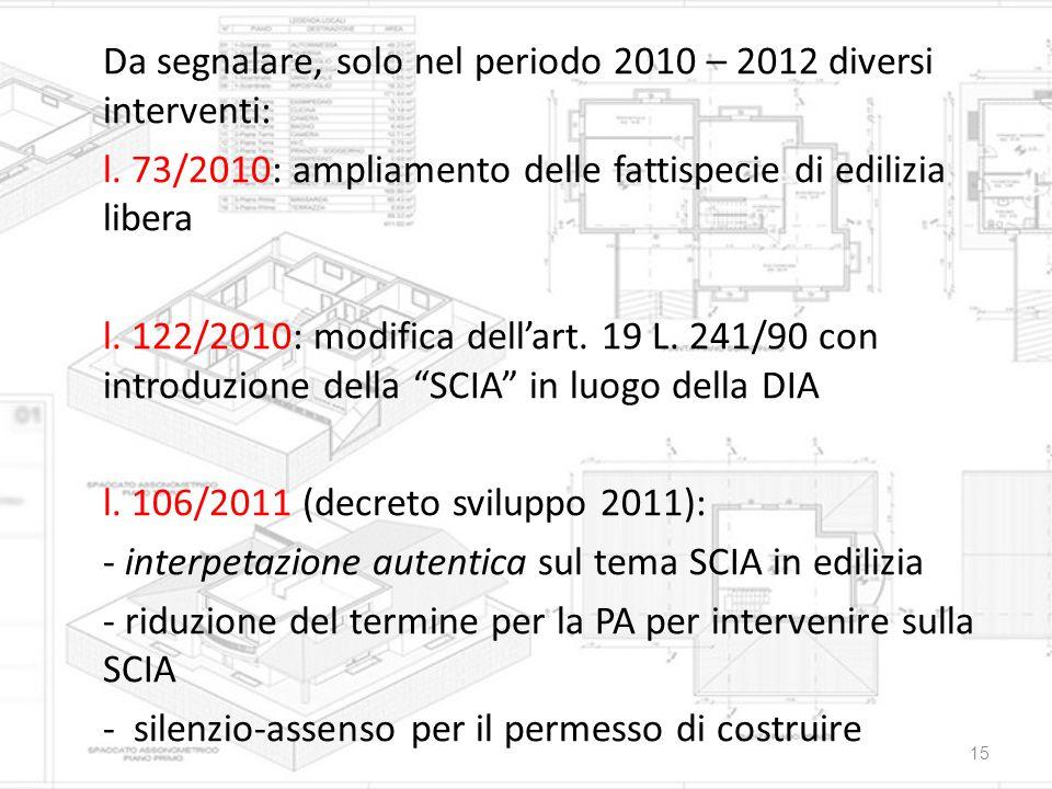 Da segnalare, solo nel periodo 2010 – 2012 diversi interventi: l. 73/2010: ampliamento delle fattispecie di edilizia libera l. 122/2010: modifica dell