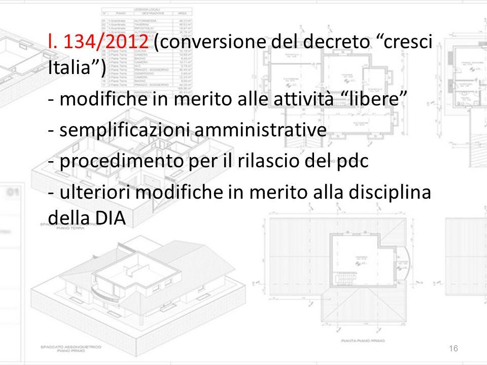 """l. 134/2012 (conversione del decreto """"cresci Italia"""") - modifiche in merito alle attività """"libere"""" - semplificazioni amministrative - procedimento per"""