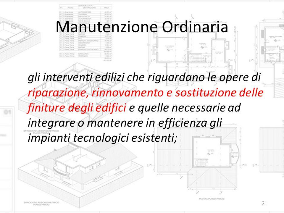Manutenzione Ordinaria gli interventi edilizi che riguardano le opere di riparazione, rinnovamento e sostituzione delle finiture degli edifici e quell