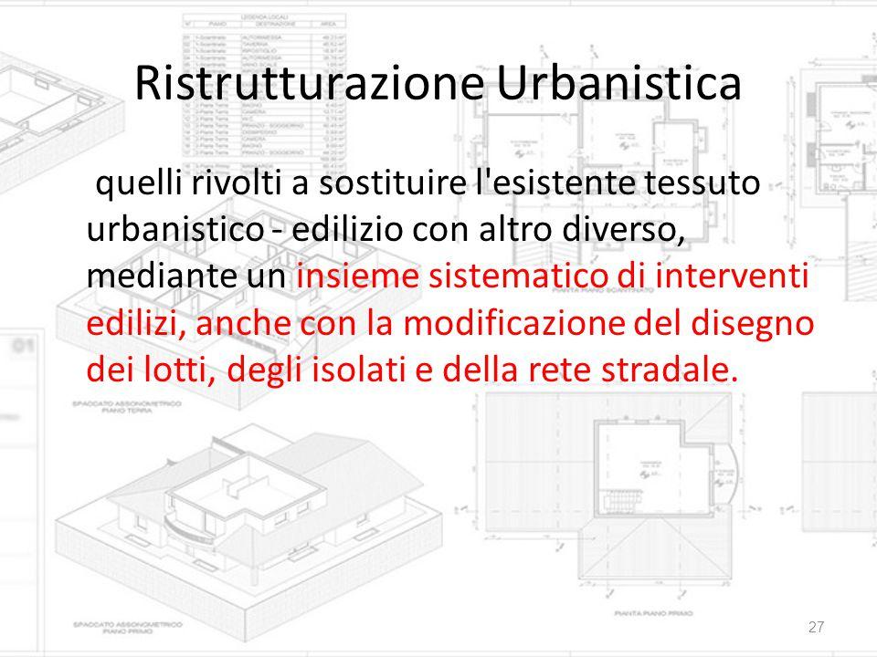 Ristrutturazione Urbanistica quelli rivolti a sostituire l'esistente tessuto urbanistico - edilizio con altro diverso, mediante un insieme sistematico