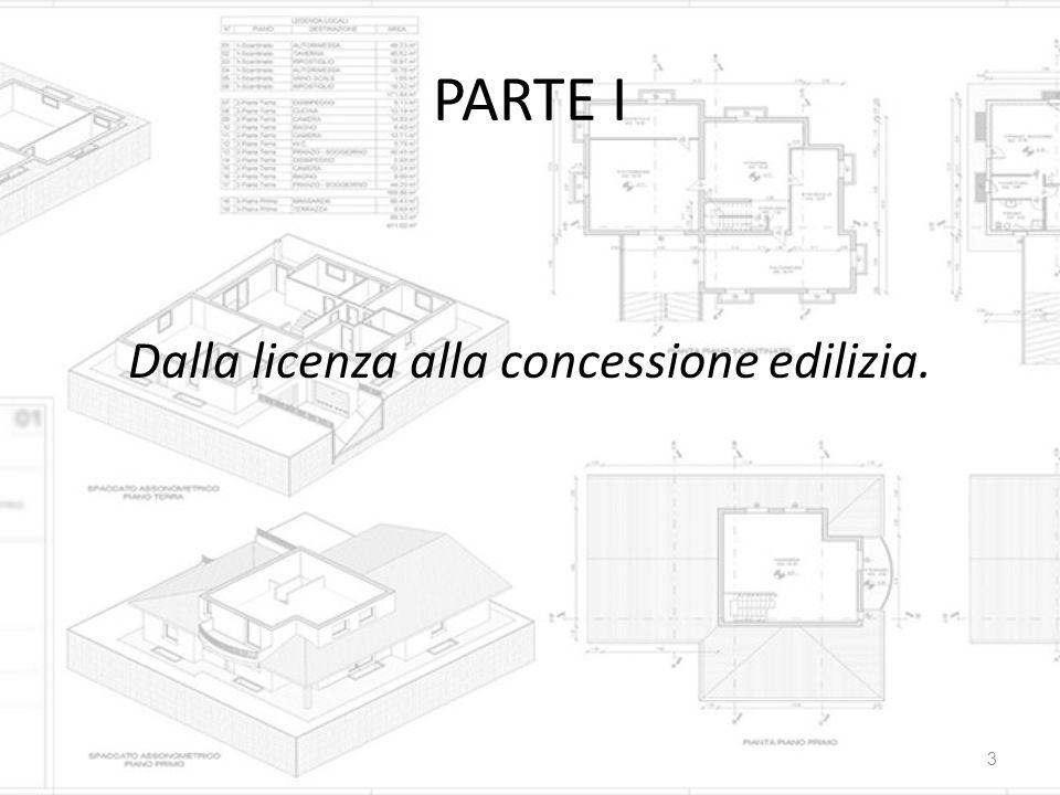 PARTE I Dalla licenza alla concessione edilizia. 3