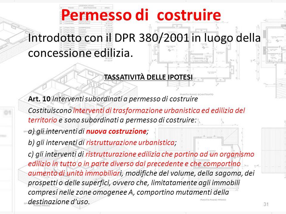 Permesso di costruire Introdotto con il DPR 380/2001 in luogo della concessione edilizia. TASSATIVITÀ DELLE IPOTESI Art. 10 Interventi subordinati a p