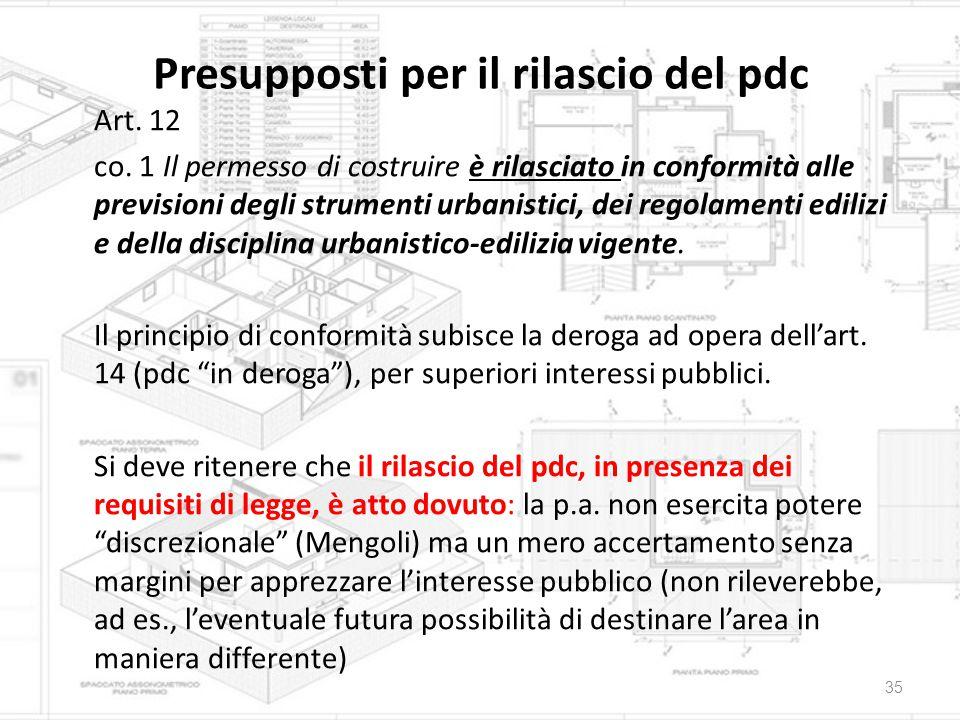 Presupposti per il rilascio del pdc Art. 12 co. 1 Il permesso di costruire è rilasciato in conformità alle previsioni degli strumenti urbanistici, dei