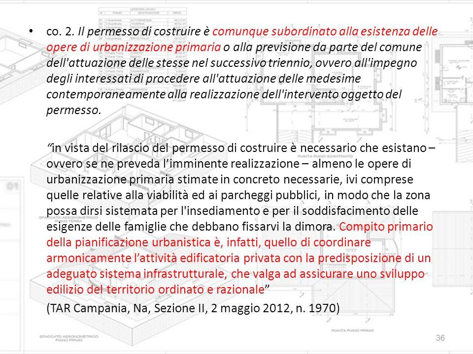 co. 2. Il permesso di costruire è comunque subordinato alla esistenza delle opere di urbanizzazione primaria o alla previsione da parte del comune del