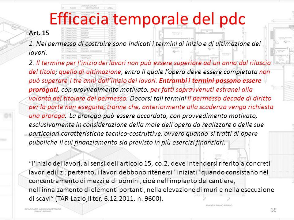 Efficacia temporale del pdc Art. 15 1. Nel permesso di costruire sono indicati i termini di inizio e di ultimazione dei lavori. 2. Il termine per l'in