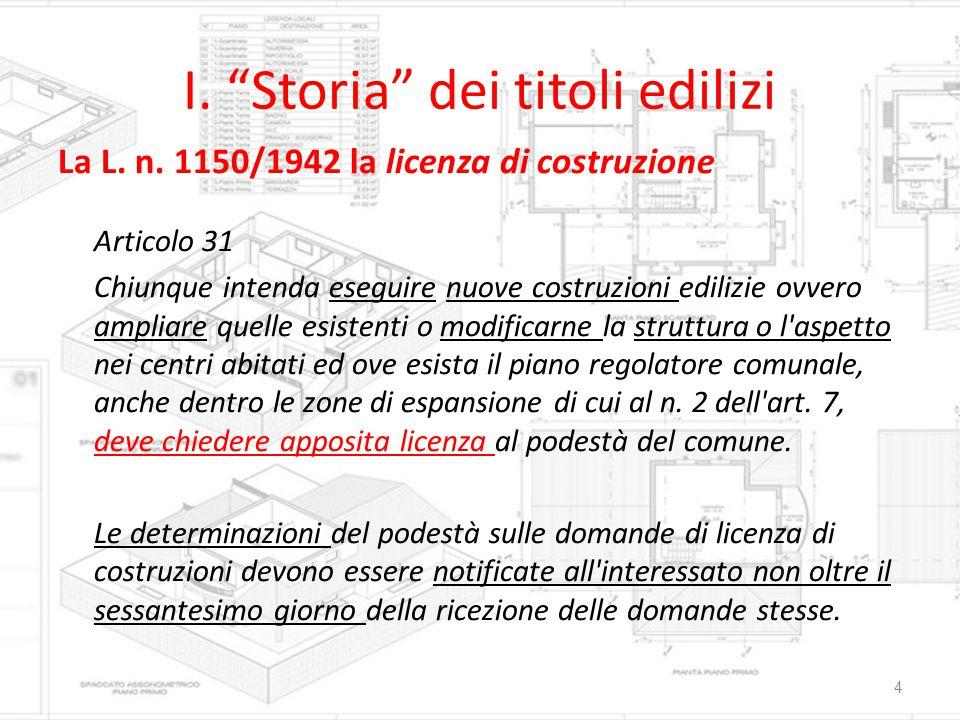 """I. """"Storia"""" dei titoli edilizi La L. n. 1150/1942 la licenza di costruzione Articolo 31 Chiunque intenda eseguire nuove costruzioni edilizie ovvero am"""
