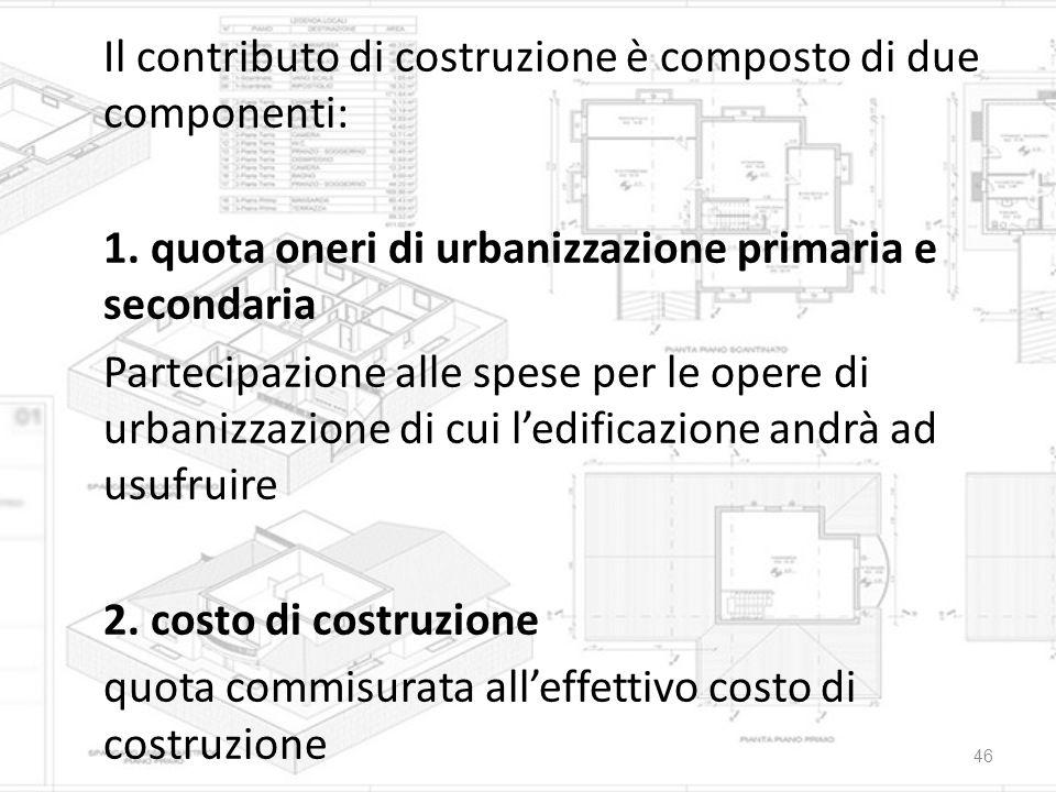 Il contributo di costruzione è composto di due componenti: 1. quota oneri di urbanizzazione primaria e secondaria Partecipazione alle spese per le ope