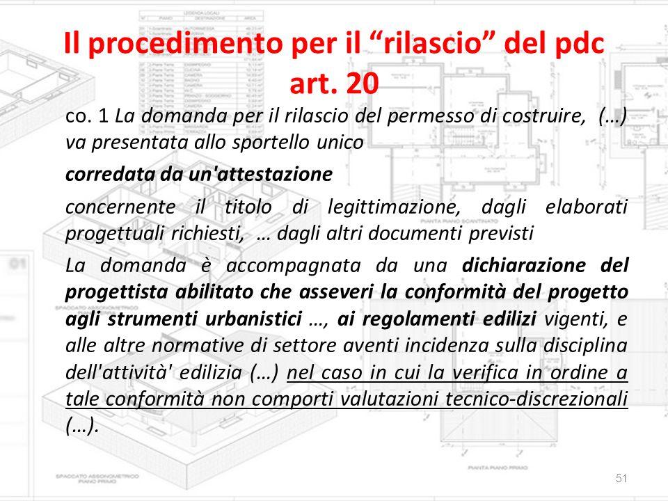 """Il procedimento per il """"rilascio"""" del pdc art. 20 co. 1 La domanda per il rilascio del permesso di costruire, (…) va presentata allo sportello unico c"""