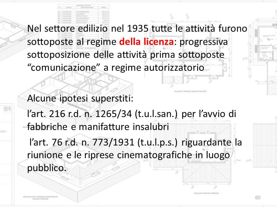 Nel settore edilizio nel 1935 tutte le attività furono sottoposte al regime della licenza: progressiva sottoposizione delle attività prima sottoposte