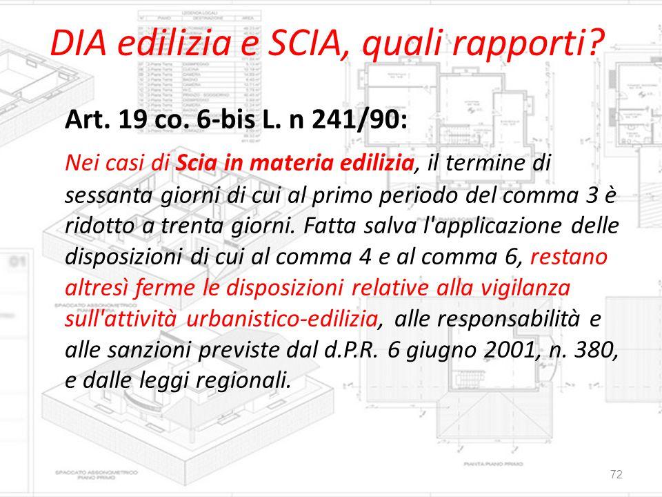 DIA edilizia e SCIA, quali rapporti? Art. 19 co. 6-bis L. n 241/90: Nei casi di Scia in materia edilizia, il termine di sessanta giorni di cui al prim