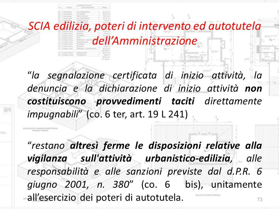 """SCIA edilizia, poteri di intervento ed autotutela dell'Amministrazione """"la segnalazione certificata di inizio attività, la denuncia e la dichiarazione"""