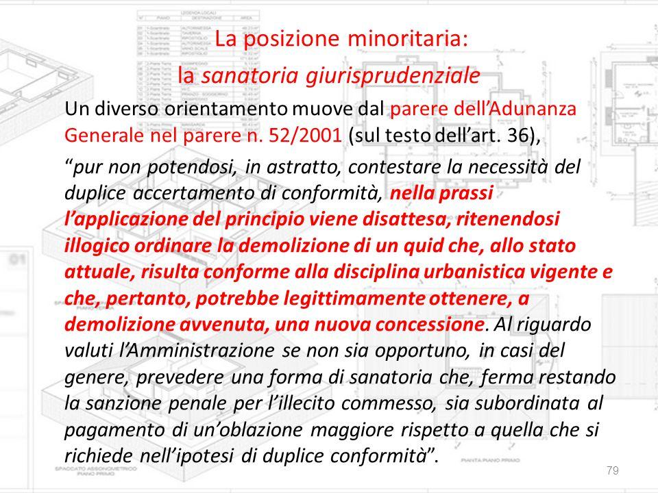 La posizione minoritaria: la sanatoria giurisprudenziale Un diverso orientamento muove dal parere dell'Adunanza Generale nel parere n. 52/2001 (sul te