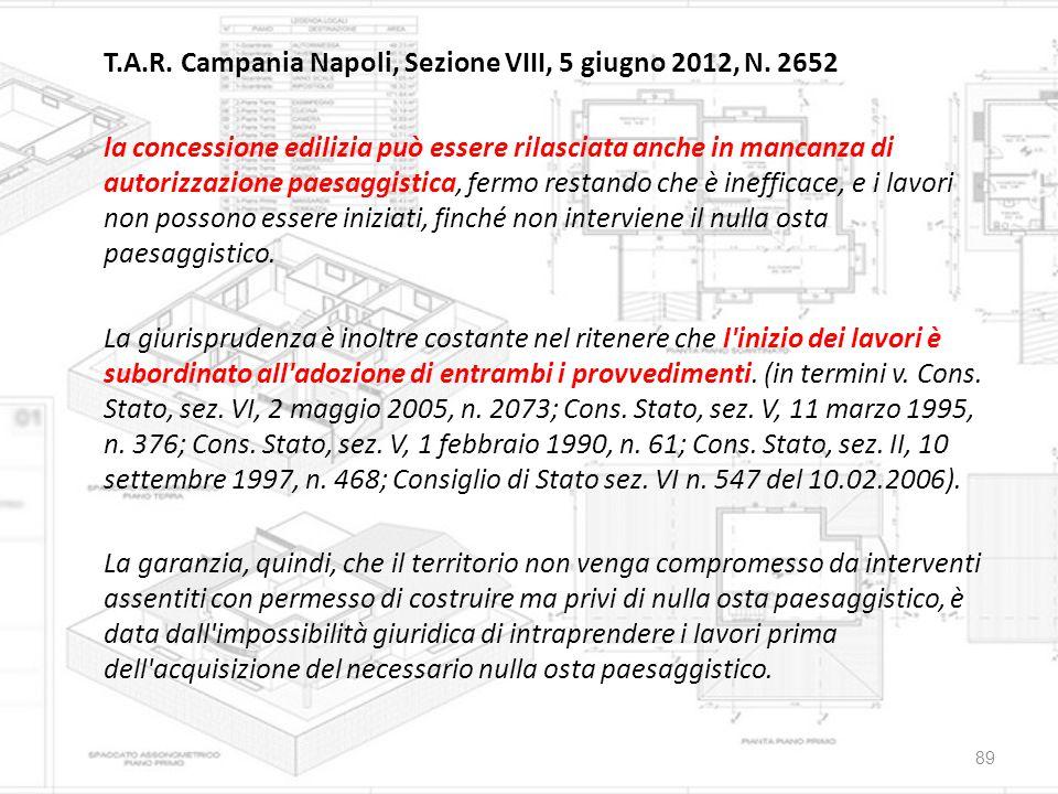 T.A.R. Campania Napoli, Sezione VIII, 5 giugno 2012, N. 2652 la concessione edilizia può essere rilasciata anche in mancanza di autorizzazione paesagg