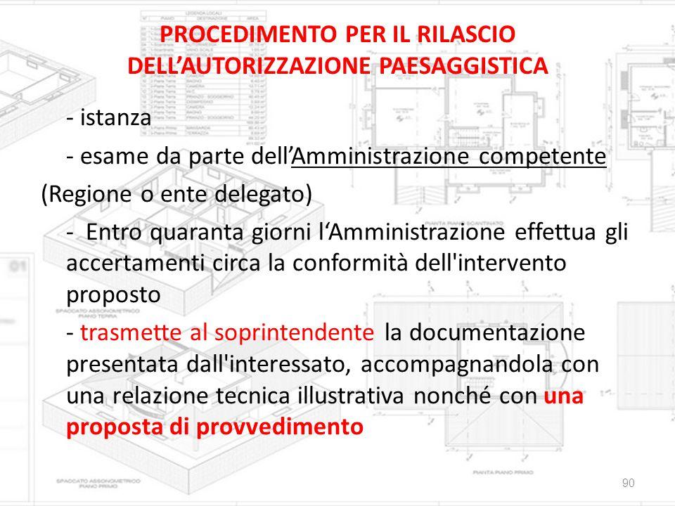 PROCEDIMENTO PER IL RILASCIO DELL'AUTORIZZAZIONE PAESAGGISTICA - istanza - esame da parte dell'Amministrazione competente (Regione o ente delegato) -