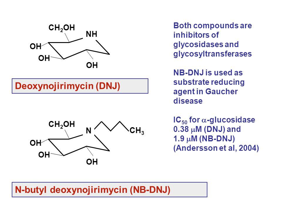 N-butyl deoxynojirimycin (NB-DNJ) Deoxynojirimycin (DNJ) Both compounds are inhibitors of glycosidases and glycosyltransferases NB-DNJ is used as subs