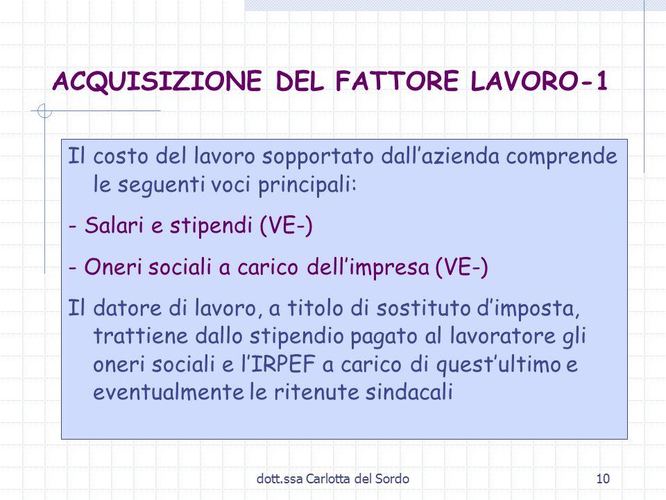 dott.ssa Carlotta del Sordo10 ACQUISIZIONE DEL FATTORE LAVORO-1 Il costo del lavoro sopportato dall'azienda comprende le seguenti voci principali: - S