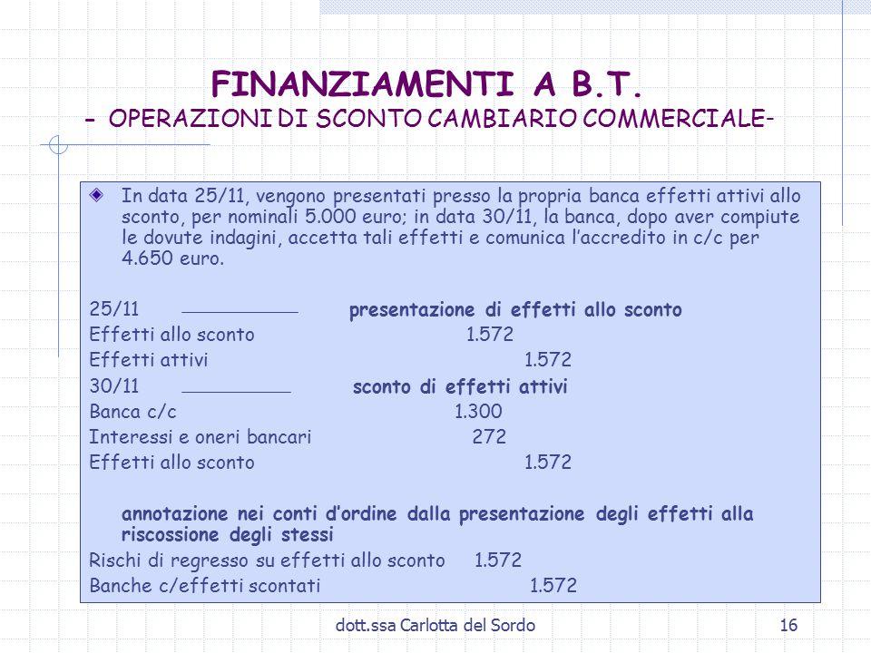 dott.ssa Carlotta del Sordo16 FINANZIAMENTI A B.T. - OPERAZIONI DI SCONTO CAMBIARIO COMMERCIALE - In data 25/11, vengono presentati presso la propria