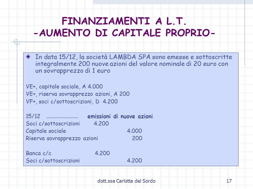 dott.ssa Carlotta del Sordo17 FINANZIAMENTI A L.T. -AUMENTO DI CAPITALE PROPRIO- In data 15/12, la società LAMBDA SPA sono emesse e sottoscritte integ