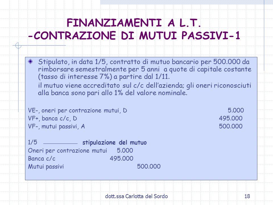 dott.ssa Carlotta del Sordo18 FINANZIAMENTI A L.T. -CONTRAZIONE DI MUTUI PASSIVI-1 Stipulato, in data 1/5, contratto di mutuo bancario per 500.000 da