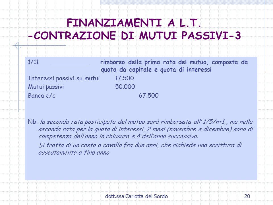 dott.ssa Carlotta del Sordo20 FINANZIAMENTI A L.T. -CONTRAZIONE DI MUTUI PASSIVI-3 1/11 rimborso della prima rata del mutuo, composta da quota da capi
