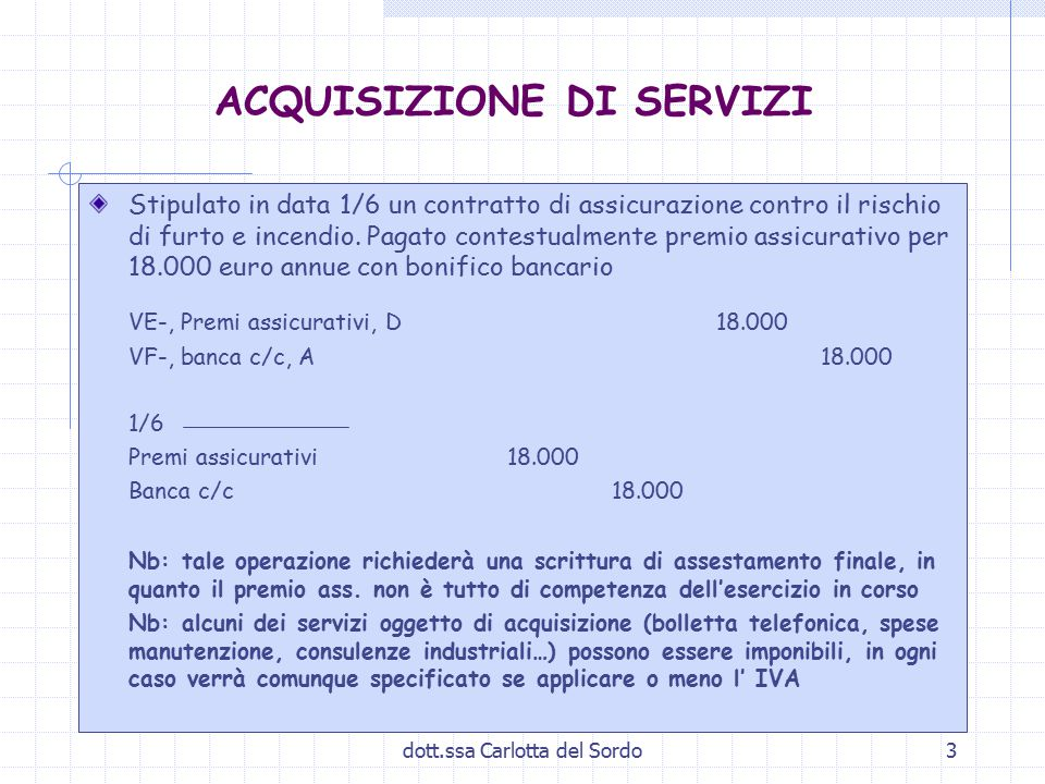 dott.ssa Carlotta del Sordo3 ACQUISIZIONE DI SERVIZI Stipulato in data 1/6 un contratto di assicurazione contro il rischio di furto e incendio. Pagato