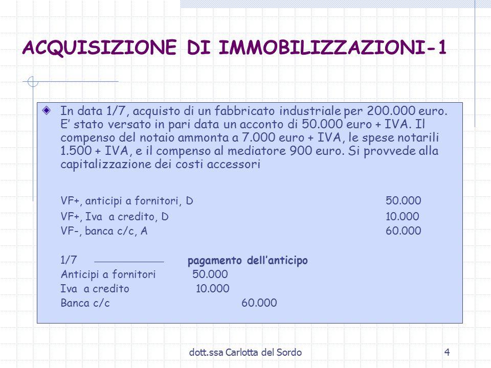 dott.ssa Carlotta del Sordo4 ACQUISIZIONE DI IMMOBILIZZAZIONI-1 In data 1/7, acquisto di un fabbricato industriale per 200.000 euro. E' stato versato