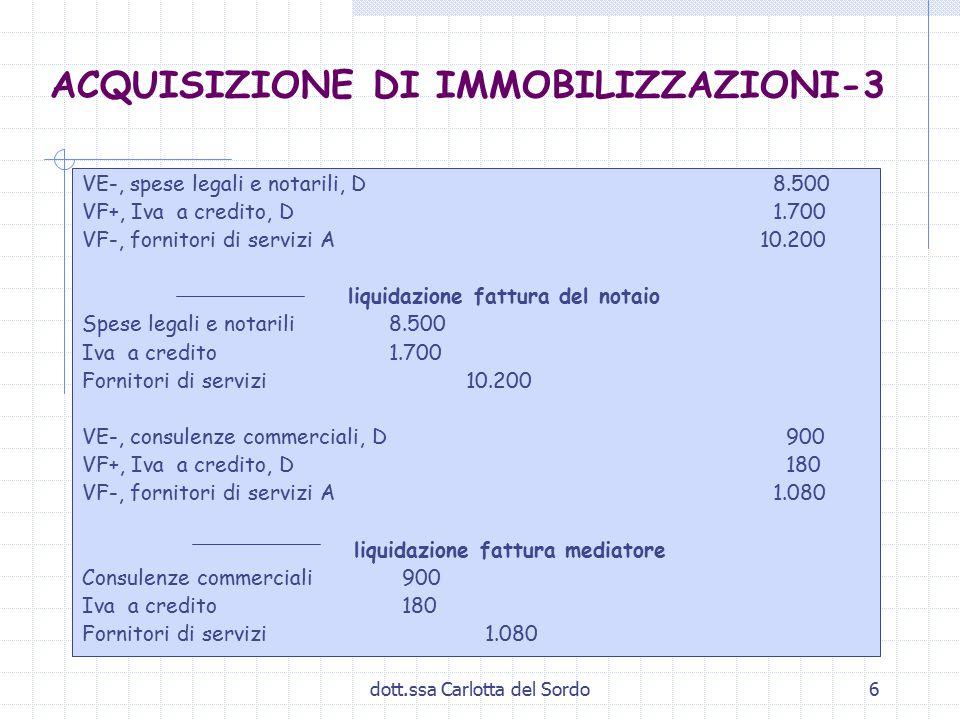 dott.ssa Carlotta del Sordo6 ACQUISIZIONE DI IMMOBILIZZAZIONI-3 VE-, spese legali e notarili, D 8.500 VF+, Iva a credito, D 1.700 VF-, fornitori di se
