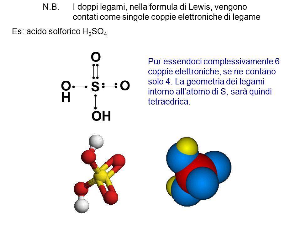 N.B. I doppi legami, nella formula di Lewis, vengono contati come singole coppie elettroniche di legame Es: acido solforico H 2 SO 4 S OHOH O OH O Pur